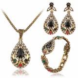 Vintage Water Drop Jewelry Set Hollow Rhinestone Bracelet Necklace Earring Ethnic Jewelry for Women