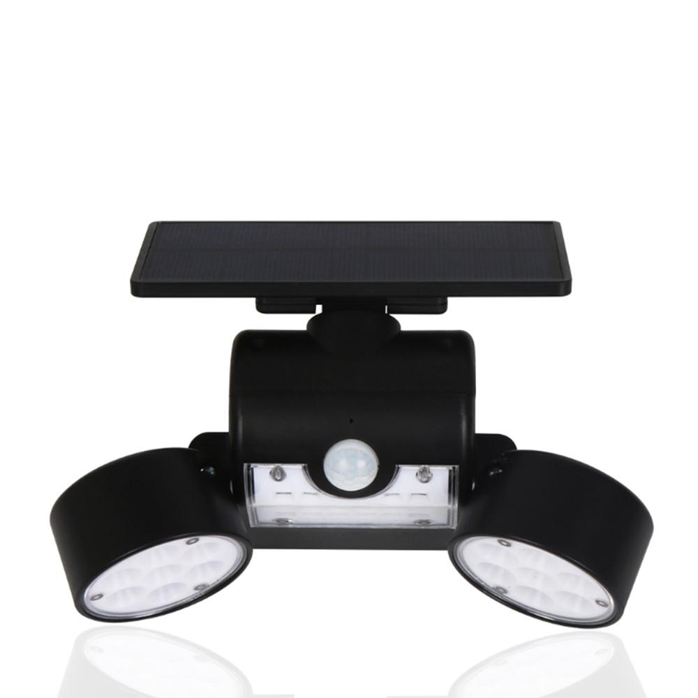 Solar Power 30 LED Rotatable Dual Head PIR Motion Sensor Wall Light Waterproof Outdoor Security Lamp