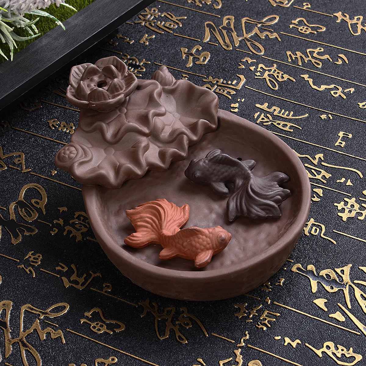 Fish Backflow Incense Burner Censer Stick Holder Decor Gift Zen Buddhist Cones Holder