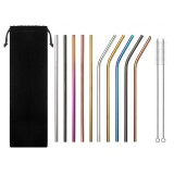 Set of 10 Multi-Color Stainless Steel Straws Drinking Tumblers Cold Beverage Cup Straw w/ Brush