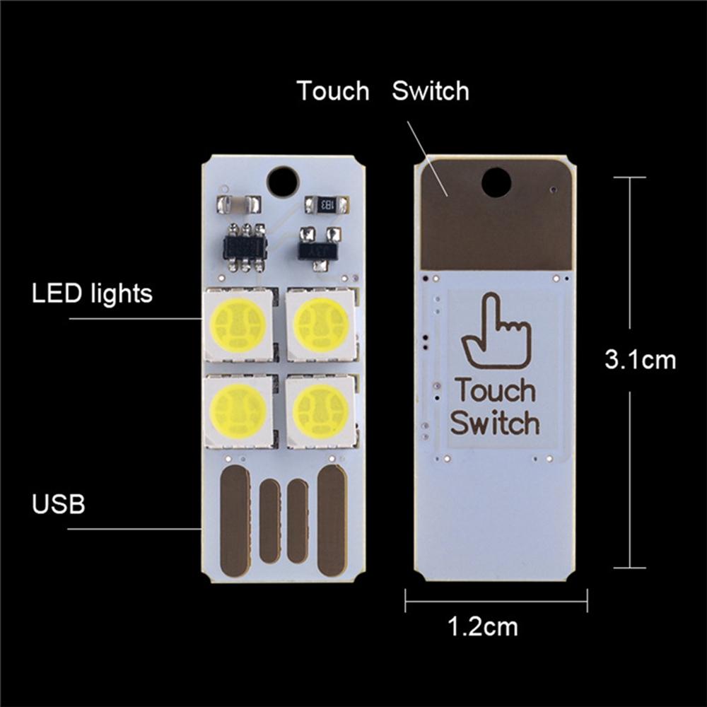 DC5V White USB Finger Touch Adjust Brightness 4LED Rigid Strip Light Power Bank Book Night Lamp