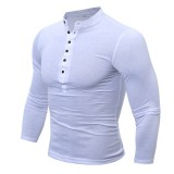 Mens Cotton Stand Collar T-shirts Buttons Breathable Long Sleeve Solid Color Tops