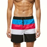 Men Drawstring Spell Color Water Repellent Beach Board Shorts With Back Pocket