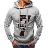 Men's Fashion Letter Printing Cotton Drawstring Long Sleeve Hoodies Fit Casual Sweatshirts