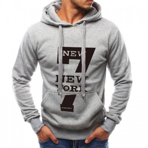 Men's Fashion Letter Printing Cotton Drawstring Long Sleeve Hoodies Fit Casual Sweatshirts