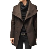 Men Mid-long Coat Solid Color Fashion Irregular Trench Coat