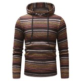 Mens Striped Printing Hoodies National Style Long Sleeve Drawstring Slim Fit Casual Sweatshirts