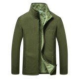 Mens Casual Winter Outdoor Fleece Thick Zipper Stand Collar Warm Jacket