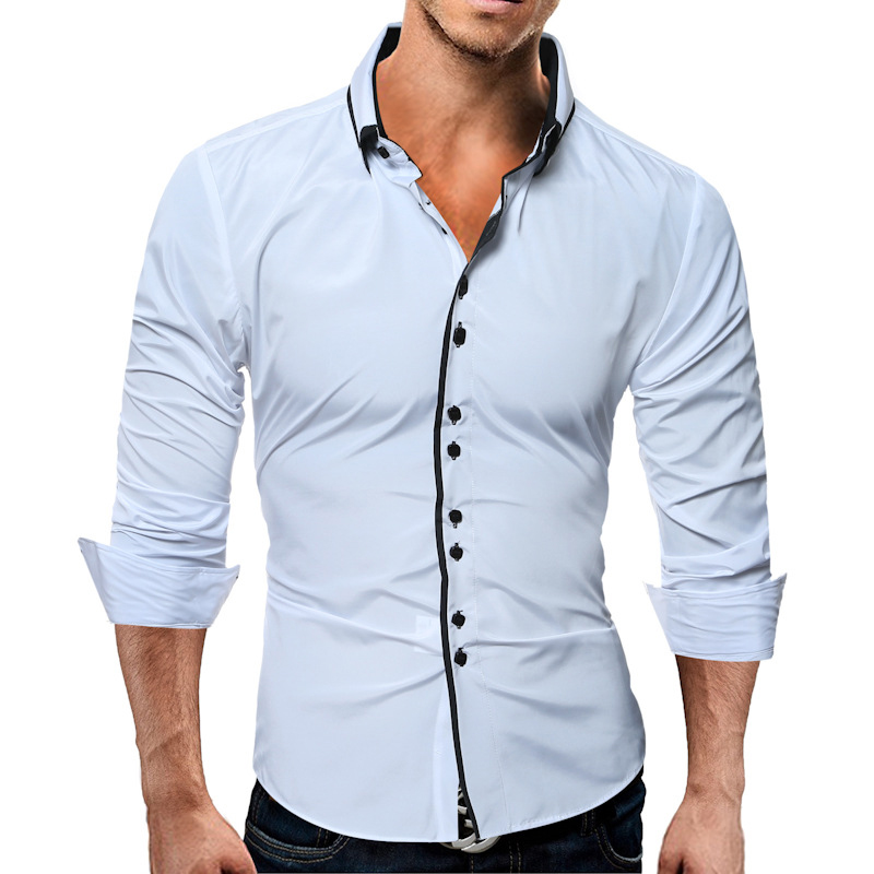 Mens Casual Solid Color Slim Fit Turn Down Collar Long Sleeve Shirts