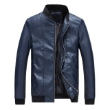 Mens Slim Casual Baseball Collar Solid Color Faux Leather Jacket