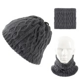 Men Winter Multi-purpose Thicken Knit Plush Beanie Cap Scarf Outdoor Earmuffs Ski Skullcap