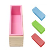 Silicone Loaf Bread Cake Mold Soap Making Mould Biscuit Baking Tool with Wooden Box