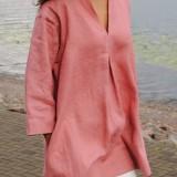 Plus Size Women Casual V-neck Solid Color Cotton Blouse