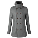 Mens Slim Double Breasted Mid Long Stand Collar Woolen Trench Coat