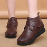 Winter Women Warm Boots Round Toe Genuine Leather Ankle Boots