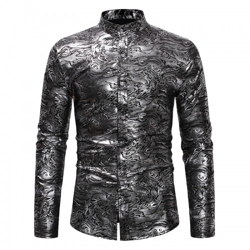 Ethnic Style Mens Casual Stand Collar Long Sleeve Slim Fit Hot Stamping Base Print Shirts