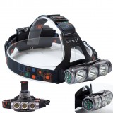 XANES® 1800LM T6+2 x XPE LED Compass HeadLamp 18650 Battery 4 Modes DC Direct Charge Waterproof For Outdoor Camping Hiking Cycling Fishing Light