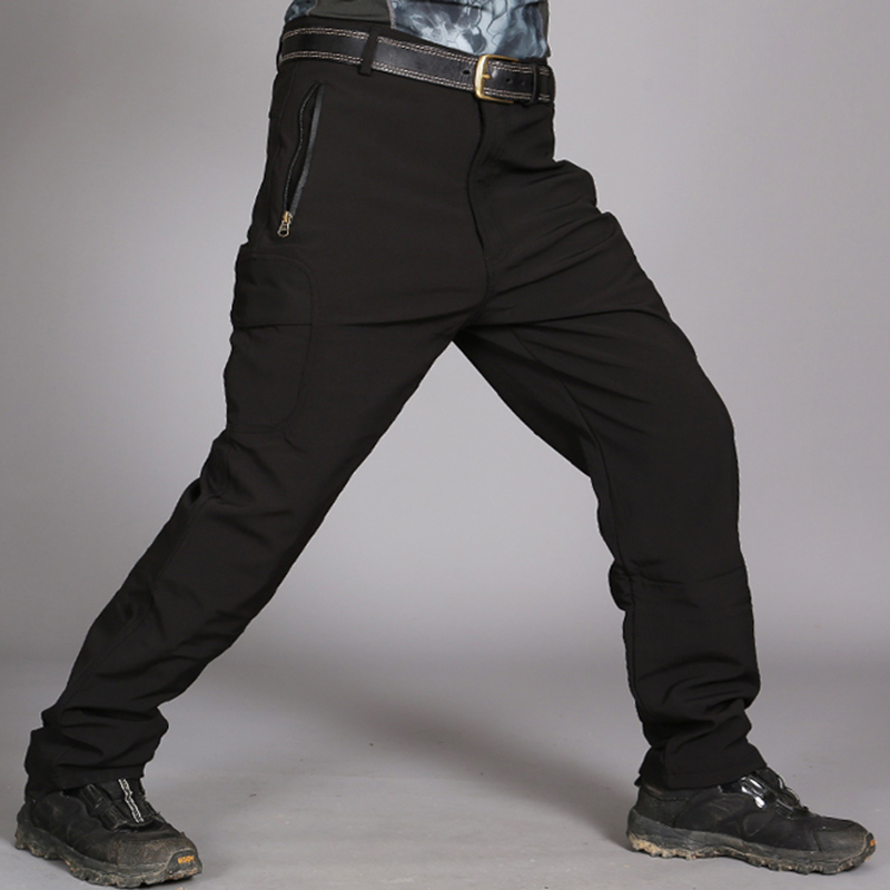 Men's Outdoor Fleece Thickened Warm Tactical Trousers Waterproof Soft Shell Casual Cargo Pants