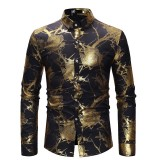 Mens Sequin Rose Printing Long Sleeve Banquet Club Stage Casual Shirts