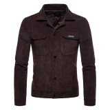 Mens Stylish Corduroy Turn Down Collar Solid Color Casual Chest Pocket Shirt Jacket
