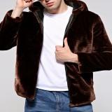 Mens Winter Warm Hooded Zipper Faux Fur Coat Jacket