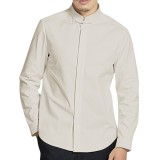 Mens Cotton Linen National Casual Long Sleeve Buttons Stand Collar Loose Shirts