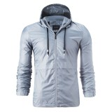 Mens Casual Stylish Drawstring Sunscreen Zipper Windbreaker Sports Hooded Jacket