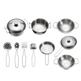 10pc Stainless steel Cookware Kitchen Cooking Set Pot Pans House Play Toy For Children