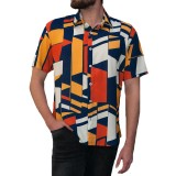INCERUN Mens Geometric Printing Short Sleeve Fit Tops Casual Shirts