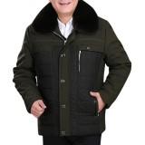 Mens Winter Warm Fur Collar Thick Fleece Zipper Buttons Outerwear Jacket