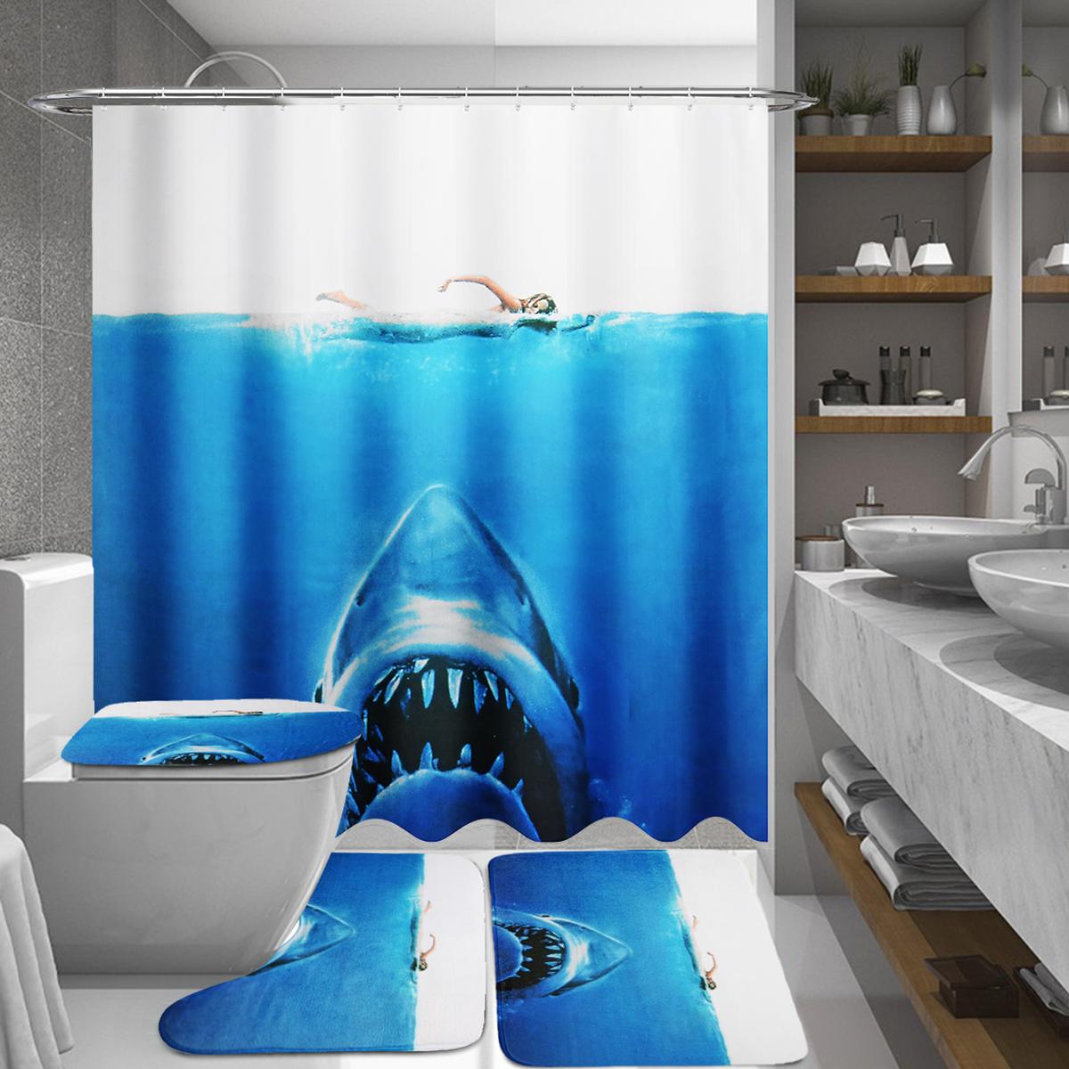 Deep Sea Shark 3d Printing Bathroom Shower Curtain Toilet