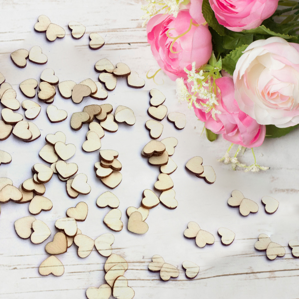 100pcs Laser Engraving Rustic Wooden Love Heart Crafts Diy Wedding Table Scatter Confetti Vintage Decorations Gift