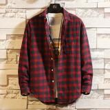 Mens Fashion Cotton Plaid Design Fit Comfy Casual Long Sleeve Shirts