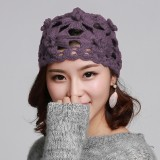 Womens Slouchy Hand-Woven Knit Beanie Hat Winter Hollow Out Earmuffs Skull Cap