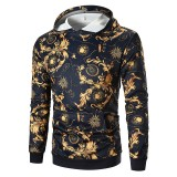 Vintgae Men Drawstring Printed Slim Hooded Top Hoodies Sweatshirts