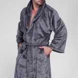 Mens Pure Color Thick Velvet Fleece Sleepwear Comfy Soft Hooded Pajamas Robe