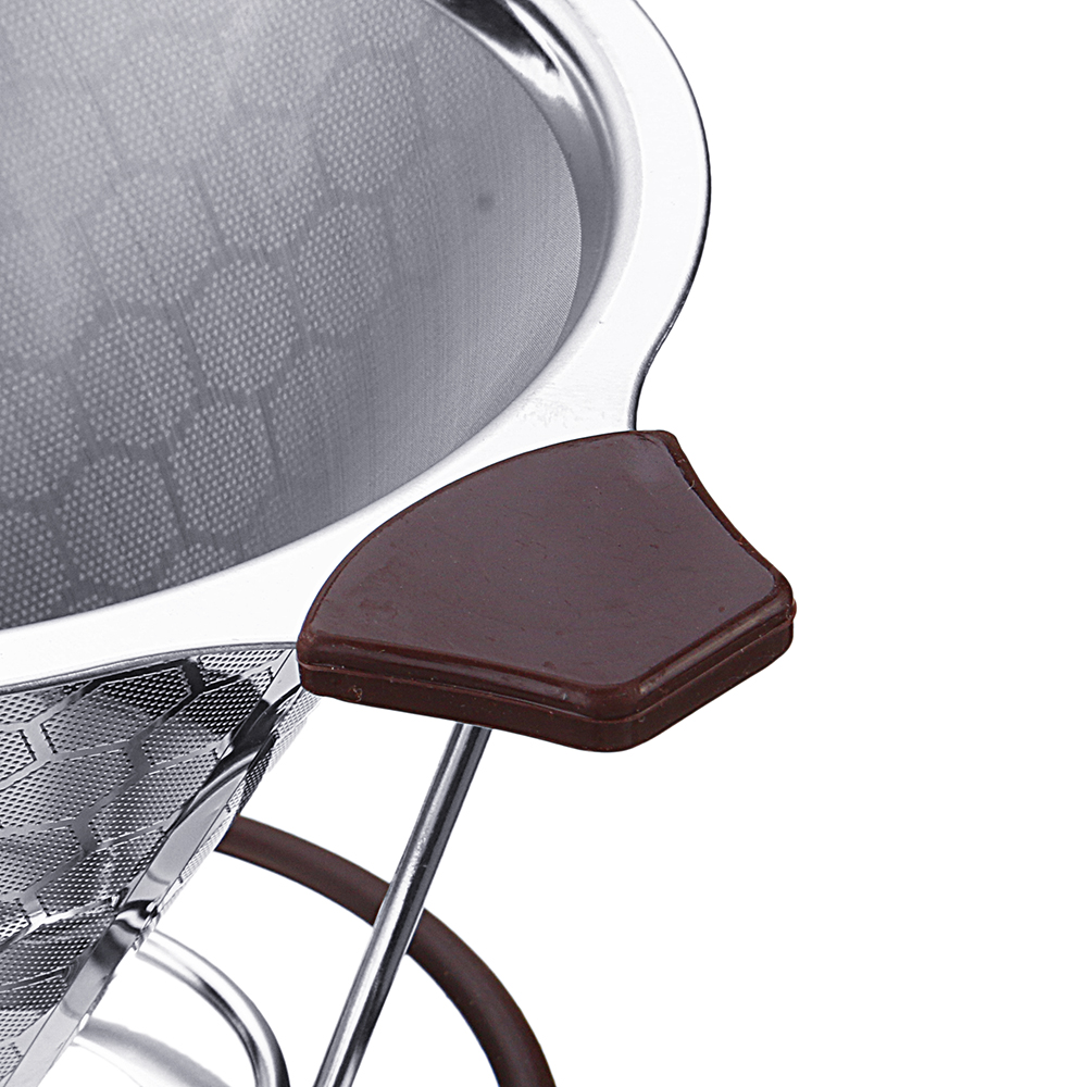 Stainless Steel Coffee Filter Double-layer Reusable Coffee Screen Funnel With Non-slip Cup Stand
