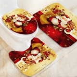 Santa Claus Waterproof Bathroom Toilet Seat Covers Mats Non-Slip Rugs Bath Mats Set Print Home Decor