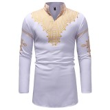 Men's National Style Printing Mid Long Loose Fit Long Sleeve Casual T-shirts