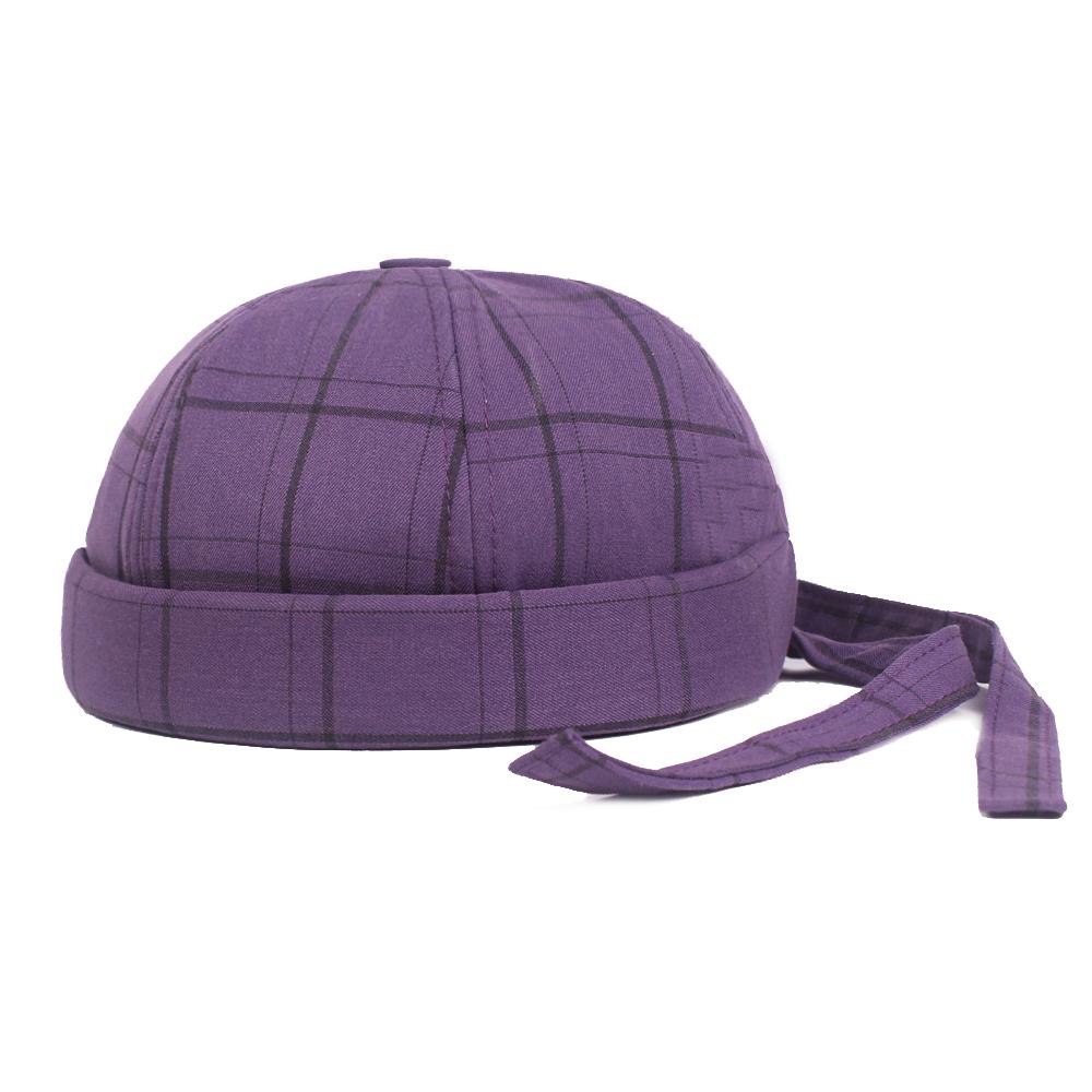 6e94c245a Unisex Warm Plaid Brimless Hats Adjustable Back Strap Hat Retro Casual Cap