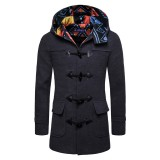 Mens Horn Buckle Hooded Toggle Coat Mid Long Slim Fit Woolen Coats