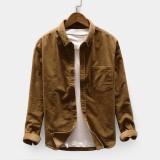 Men's Casual Corduroy Loose Pocket Design Turndown Collar Long Sleeve Shirts
