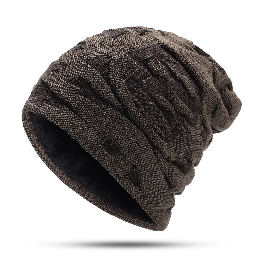 Mens Winter Windproof Thicken Plus Velvet Knit Hat Outdoor Earmuffs Beanie Cap