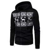 Men Casual Christmas Print Drawstring Big Front Pockets Zipper Cotton Slim Hoodies Sweatshirts