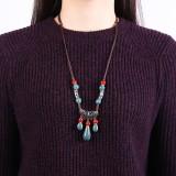 Ethnic Handmade Women's Long Necklace Ceramic Drop Tassel Pendant Vintage Sweater Necklace for Her