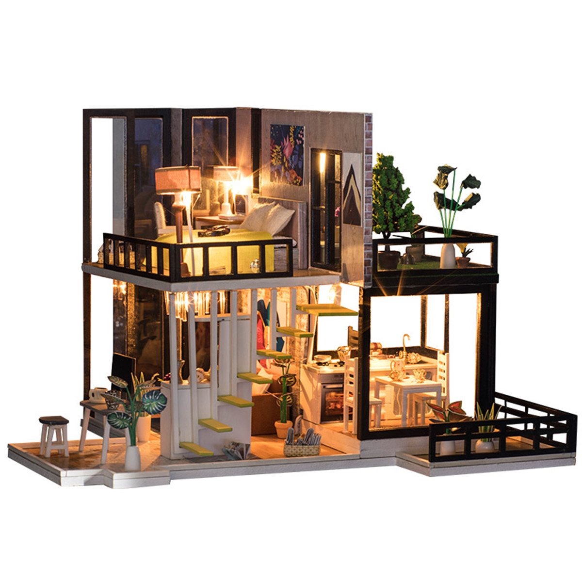 Miniature Dollhouse DIY Handcraft Kit Furnitures Wooden House  Romantic Gift