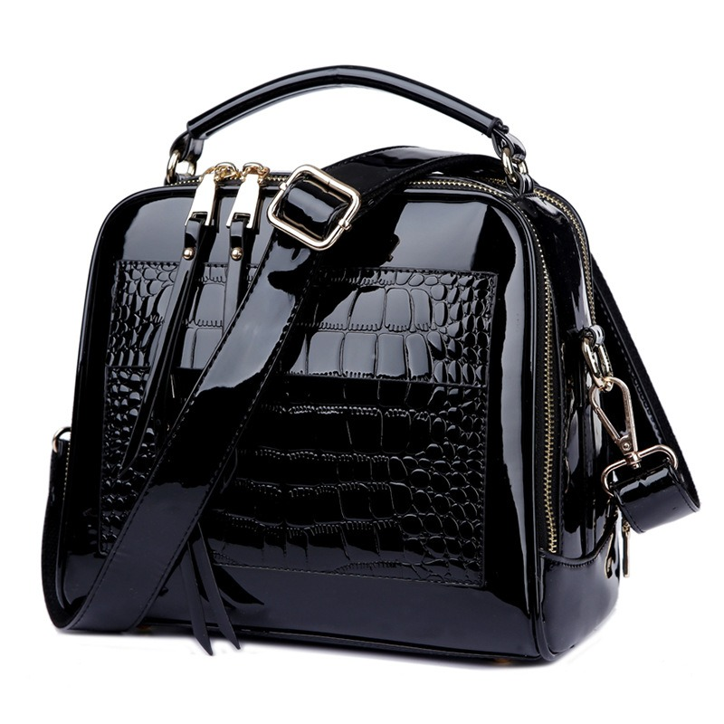 Women Patent Leather Seashell Bag Portable Diagonal Bag, Shoulder Bag Messenger Bag