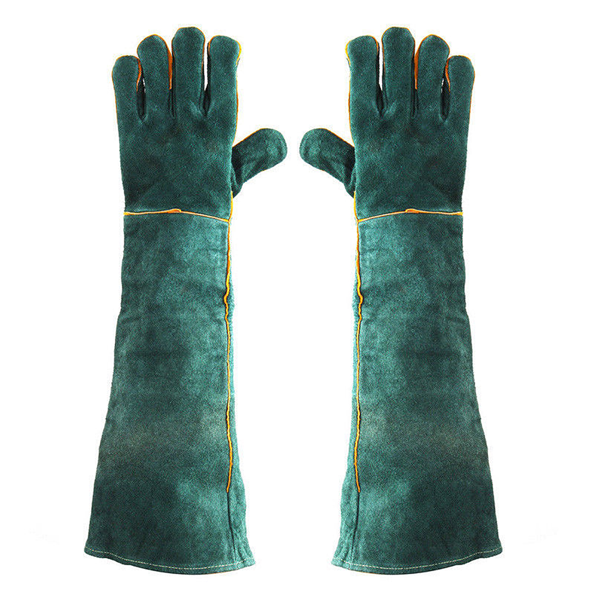 Fireplace Gloves Thicken Extreme Heat Resistant Working Protect Gloves Cut-Proof Labor Gloves Welders Gauntlets 60CM Leather Welding Gloves with Extra Long Sleeves Gardening Gloves