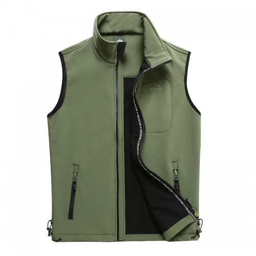 Mens Outdoor Soft Shell Sport Warm Solid Color Stand Collar Sleeveless Vest