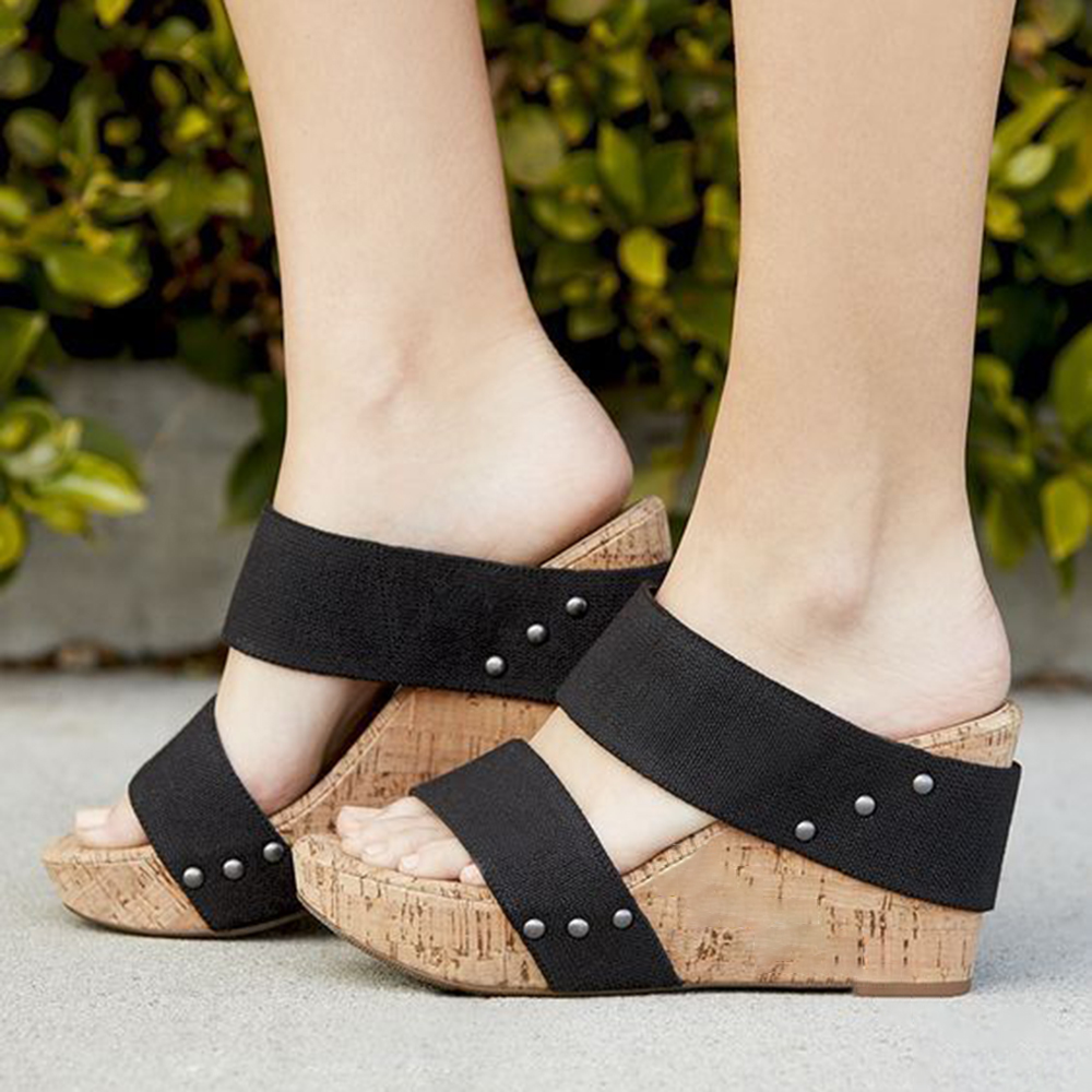 Women Mid Heeled Peep Toe Casual Wedge Sandals